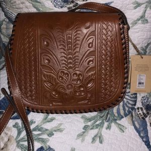 Patricia Nash BRWN leather Tooled Saddle Crossbody
